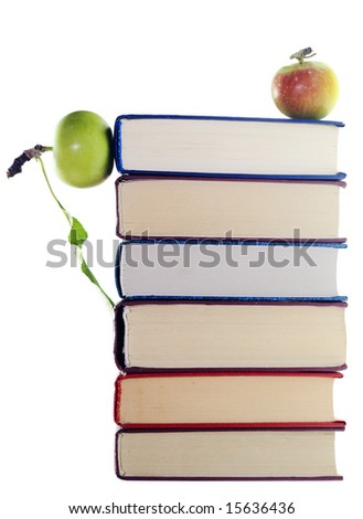 apple on stack of books isolated on white background - stock photo