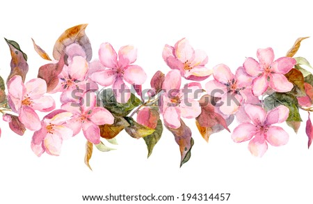 Apple or cherry pink flowers. Seamless floral stripe frame. Watercolor painted fringe - stock photo