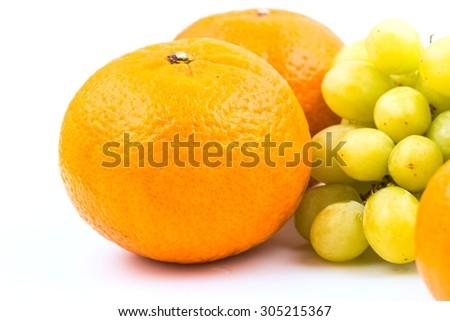 Apple, orange,grape, Healthy fruit isolated on white background.  - stock photo