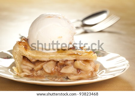 Apple Pie Ala Mode. Unsharpened file - stock photo