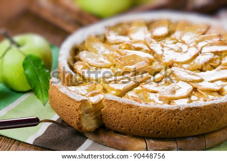 apple pie on table closeup - stock photo