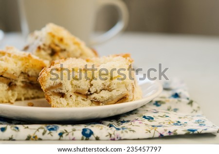 Apple pie on the plate on the white table - stock photo