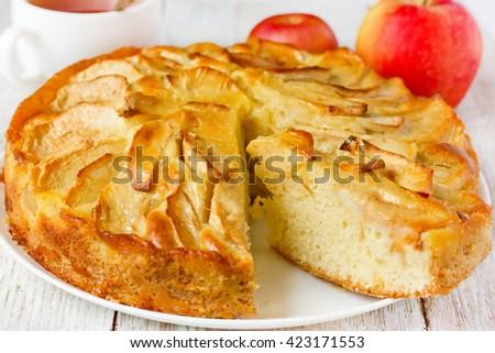 Apple pie selective focus - stock photo
