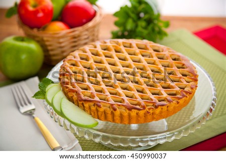 Apple pie tart dessert treat complete whole entire lattice crust - stock photo