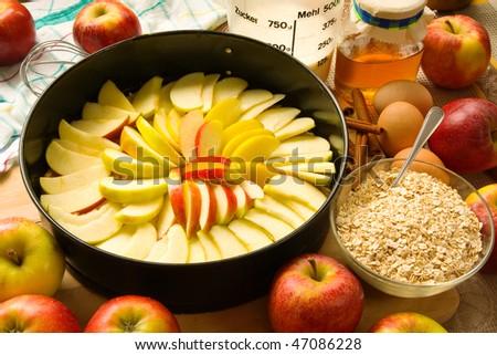 Apple pie unbaked - stock photo