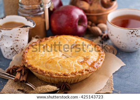 Apple pie with caramel syrup, spices and cinnamon - stock photo