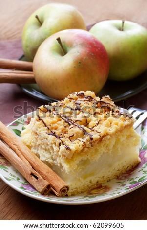 Apple pie with cinnamon, still life. - stock photo