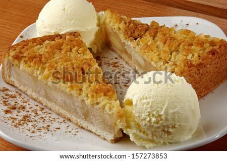 apple pie with vanilla ice cream - stock photo