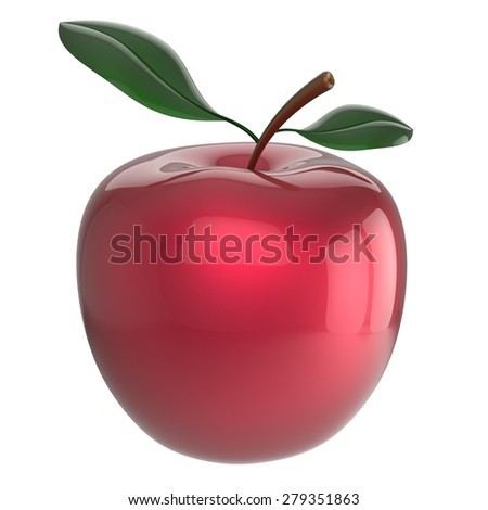 Apple ripe red fruit nutrition antioxidant fresh fruit exotic agriculture beauty icon. 3d render isolated on white background - stock photo