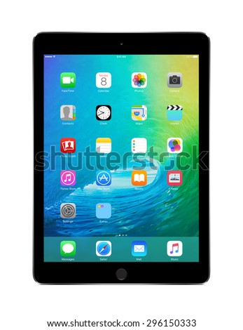 Apple Space Gray iPad Air 2 with touch ID displaying announced on WWDC 2015 iOS 9, designed by Apple Inc. Isolated on white background. High quality. Varna, Bulgaria - February 02, 2014 - stock photo