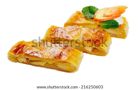 Apple strudel on a white background.Culinary product - stock photo