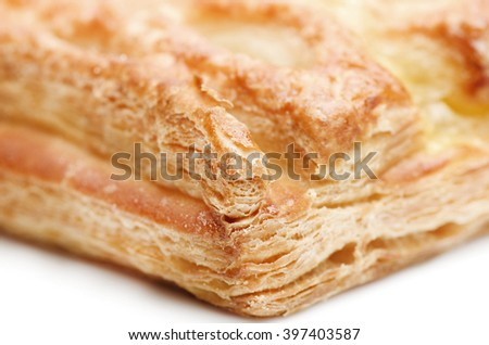 Apple strudel puff pastry isolated on a white background. - stock photo