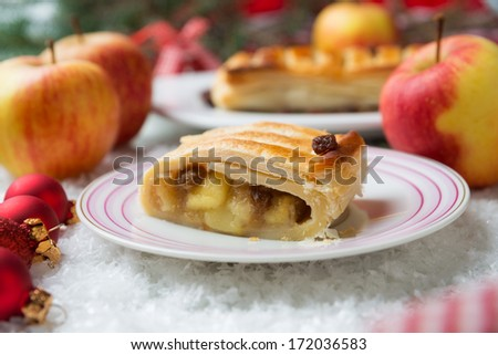 apple strudel with christmas decoration - stock photo