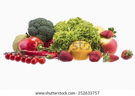 Apple,Tomato, Lettuce, Broccoli, Paprika, Red Chili Pepper, Pear, Lemon and Strawberry - stock photo