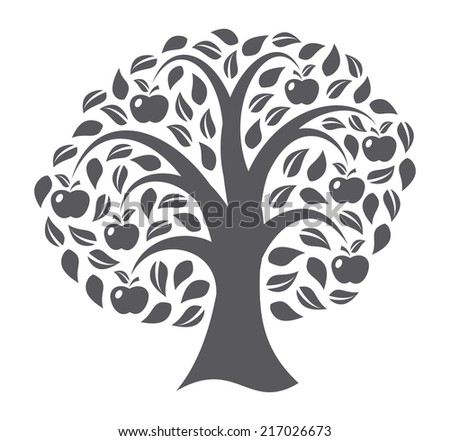 Apple tree on white background - stock photo