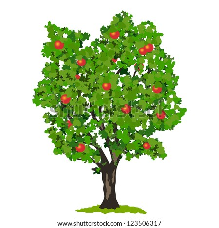 Apple tree with fruits. Raster version of vector illustration. - stock photo