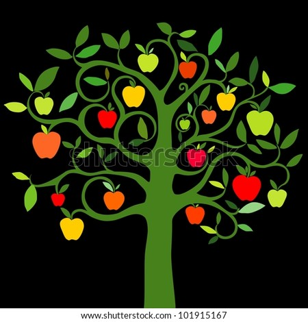 apple tree with red apples isolated on black background. illustration - stock photo
