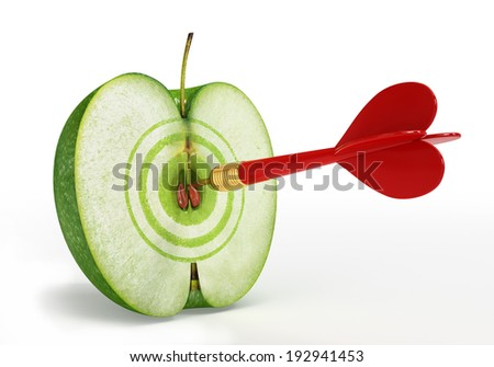 Apple with a target on a white background - stock photo
