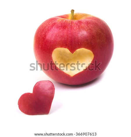 apple with heart - stock photo