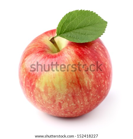 Apple with leaves - stock photo