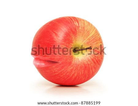 Apple with mouth isolated on white - stock photo