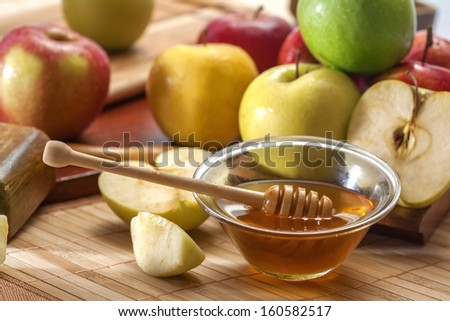 Apples and honey - stock photo