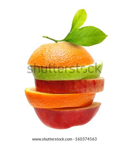 Apples and orange fruit isolated - stock photo