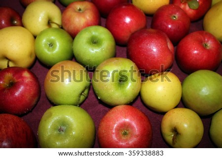 Apples Drying After Being Rinsed  - stock photo