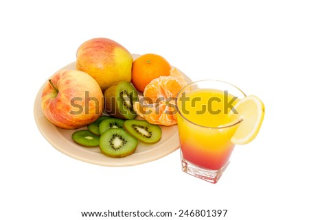 Apples, kiwi, tangerines with a tropical cocktail - stock photo