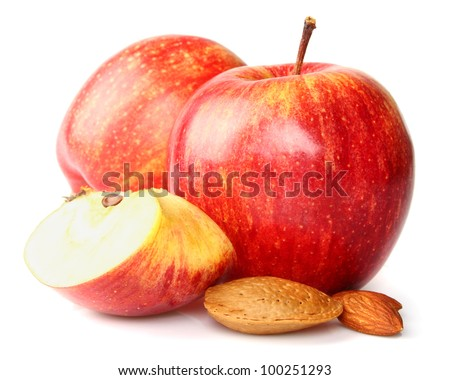 Apples with almonds - stock photo