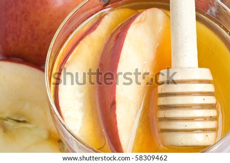 Apples with honey sweet food for the Jewish New Year - stock photo