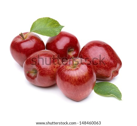 Apples with leaves on white background - stock photo