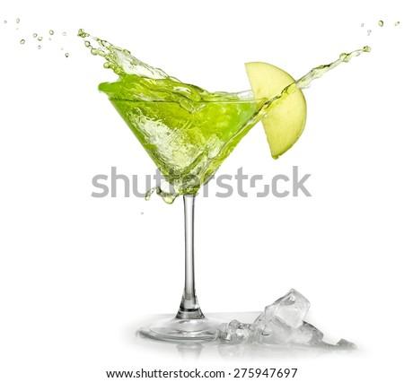Appletini cocktail up - stock photo