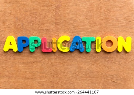 application colorful word on the wooden background - stock photo