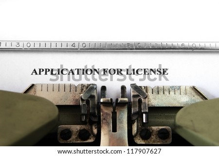 Application for license - stock photo