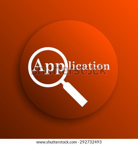 Application icon. Internet button on orange background  - stock photo