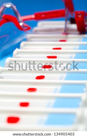 Application of biological preparation on the slide - stock photo