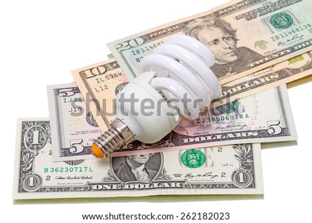 Application of energy-saving bulbs will save a personal budget.  - stock photo