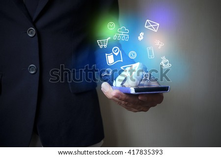 application software icons  on digital mobile,  business concept, shopping online concept , business idea ,social media concept - stock photo