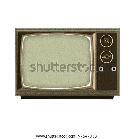 Applique' work in the form of vintage tv from a fabric, isolated on white background. - stock photo