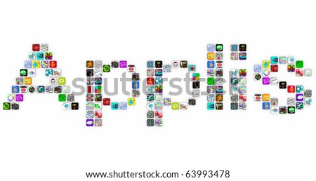 Applis - the French translation of Apps - made of application icons similar to those on a smart phone or other modern device - stock photo