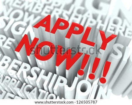 Apply Now Concept. The Word of Red Color Located over Text of White Color. - stock photo