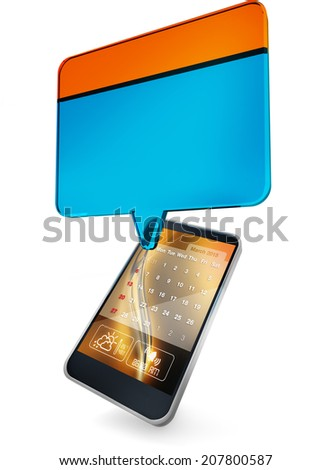 appointment button over a mobile phone on white background - stock photo
