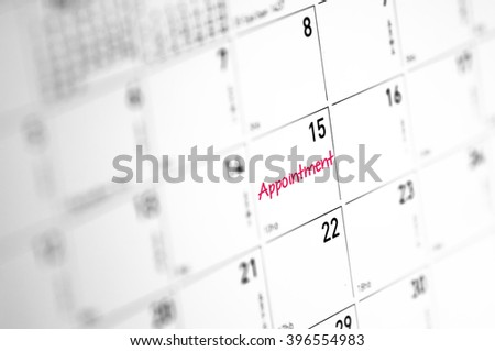 Appointment reminder on calender - Business Concept - stock photo