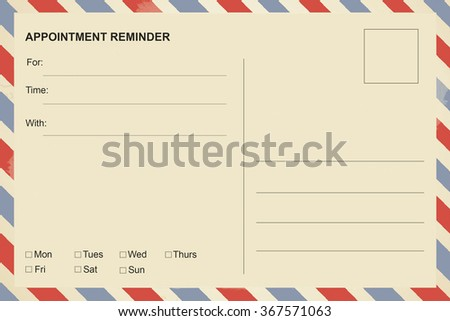 Appointment Reminder postcard - stock photo