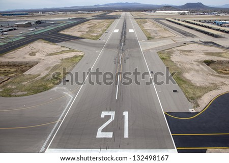 Approach to Runway 21 at Tucson International Airport - stock photo