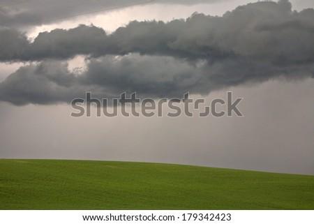 Approaching rain in scenic Saskatchewan - stock photo