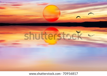 approaching the sun - stock photo