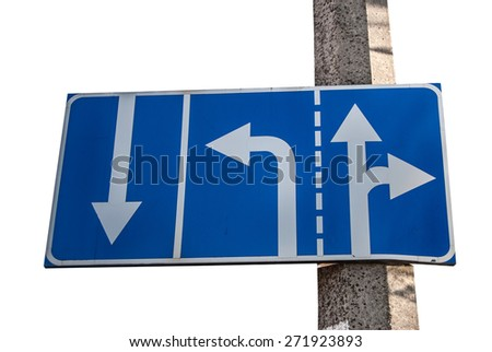 Appropriate traffic lanes at crossroads junction, right turn exit ahead, isolated blue road sign, white arrows - stock photo