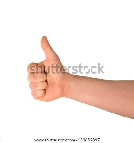 Approval thumbs up like sign as caucasian hand gesture isolated over white background - stock photo